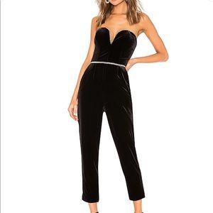 NEVER WORN Velvet strapless jumpsuit